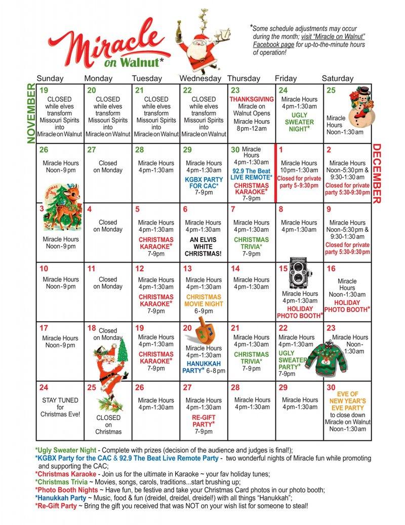 Miracle on Walnut calendar