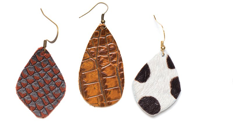 sarah gugliotta leather earrings together