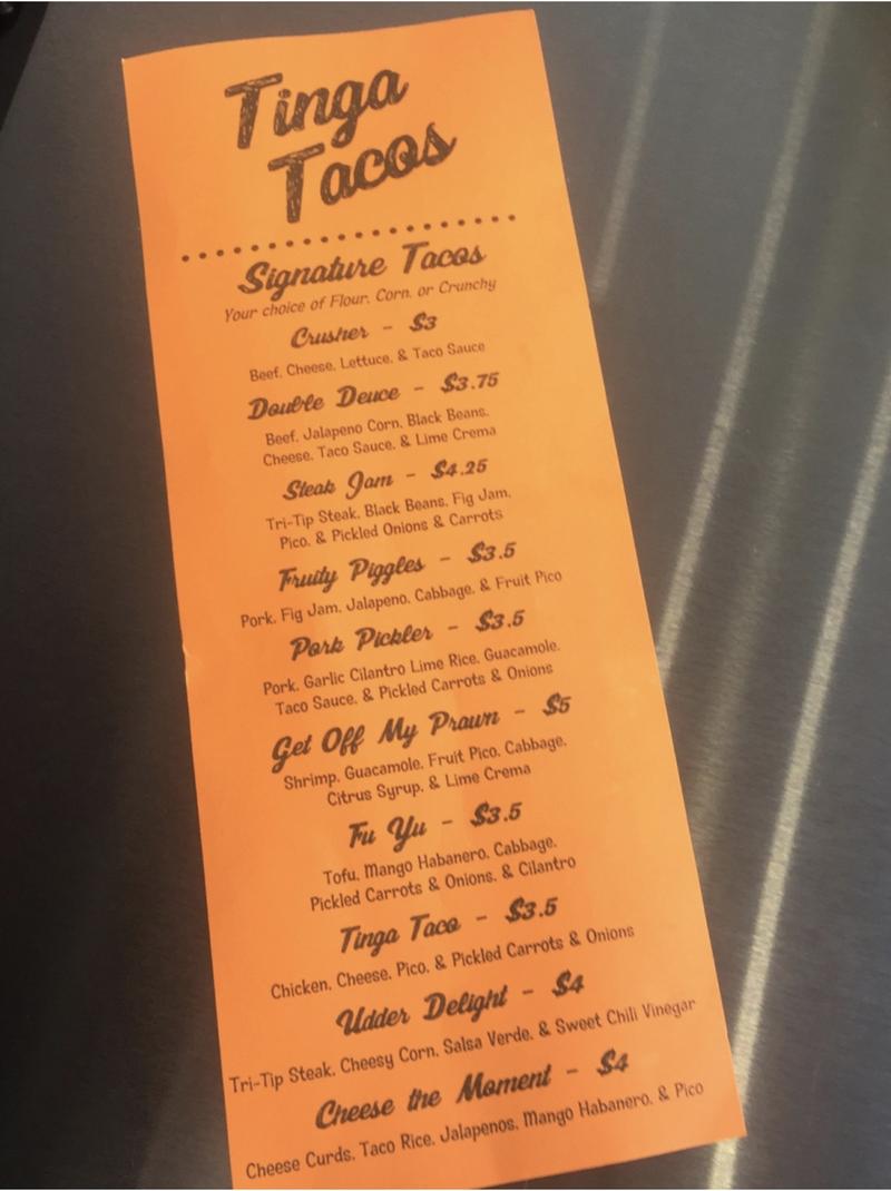 Tinga Tacos Menu