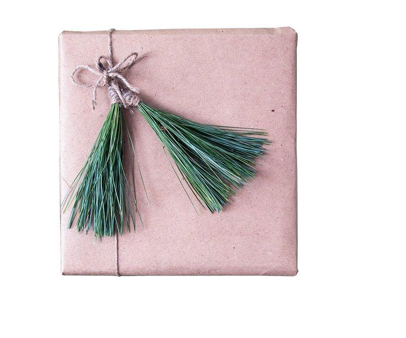 winter dinner table pine needle tassel