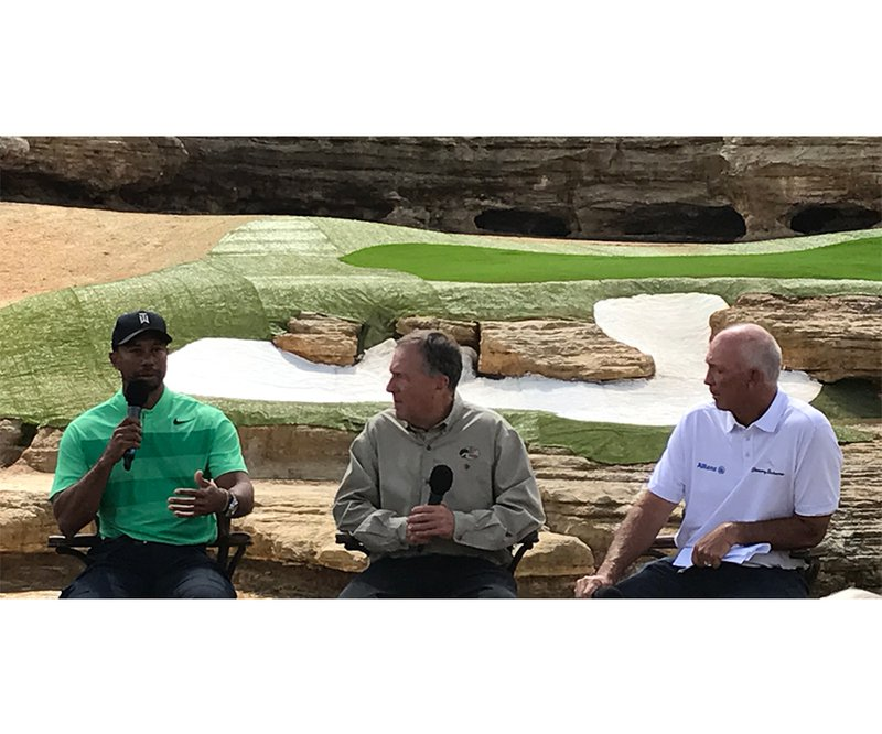 Tiger Woods, Johnny Morris and Tom Lehman